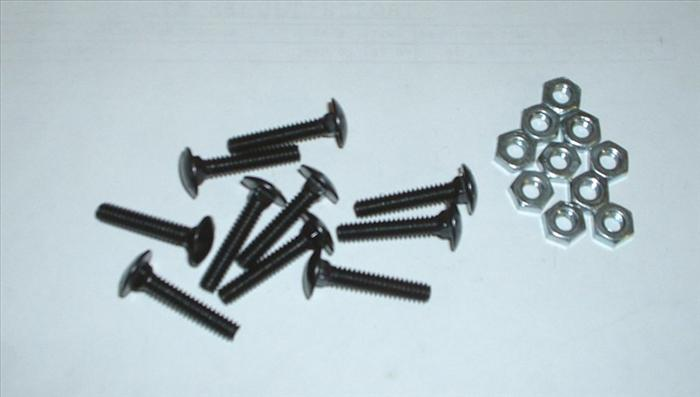 """2/"""" BLACK CARRIAGE BOLTS 10-24 and lock nuts arcade game control panel 4pcs"""