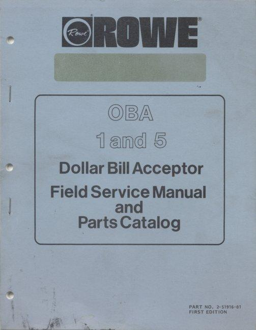 rowe oba 1 and 5 dollar bill acceptor manual for sale