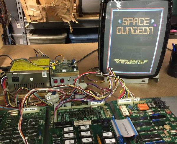Space Dungeon running on a Taito test rig.